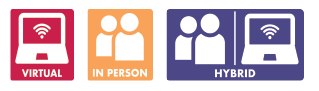 virtual - in person - hybrid icons