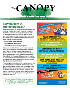"Cover of The Canopy newsletter featuring ""Stay diligent to protect health"" article and COVID-19 infographic"